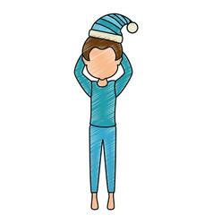 man sleeping character icon vector image