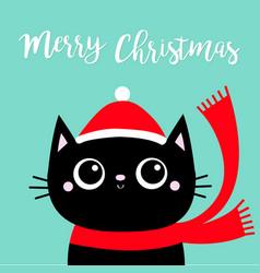 Merry christmas black cat kitten head face red vector