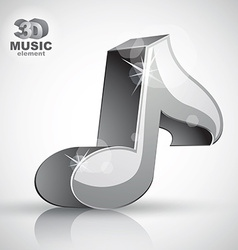 Metallic musical note icon from upper view vector
