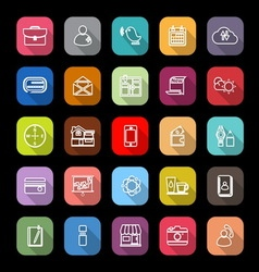 Mobile line icons with long shadow vector