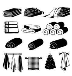Monochrome different towels vector