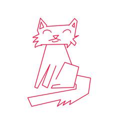 monoline red cat abstract animal kitten kitty pet vector image