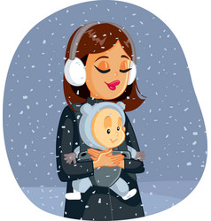 Mother and baenjoying winter snow vector