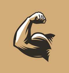 muscular arm with clenched fist bodybuilding gym vector image