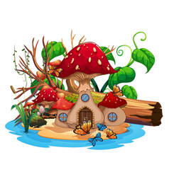 Mushroom house in the pond vector