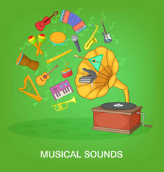 Musical instruments green concept cartoon style vector