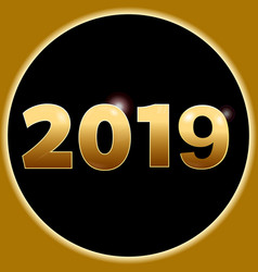new year 2019 in 3d golden numbers and border vector image