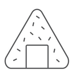 Onigiri thin line icon asian and food japanese vector