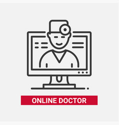online doctor - line design single isolated icon vector image
