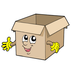 open cute cardboard box vector image