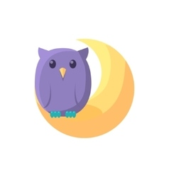 Owl Sitting On Crescent vector image