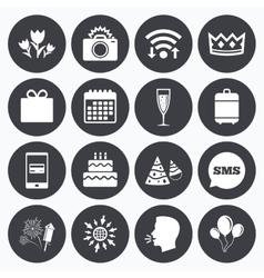 Party celebration birthday icons Fireworks vector