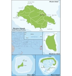 Pitcairn Islands map vector image