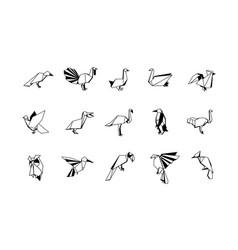 polygonal birds linear icons set low poly bird vector image