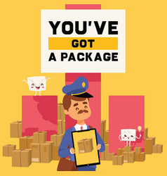 postman mailman delivers mails in postbox vector image