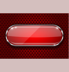 Red button with chrome frame 3d glass oval icon vector
