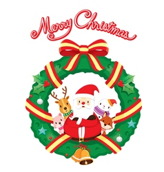 Santa Claus And Friend With Christmas Wreath vector image