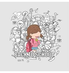 Schoolgirl pupils back to school background vector