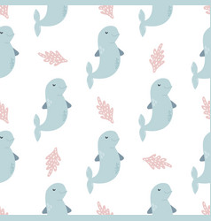 seamless pattern baprint with cute dolphins vector image