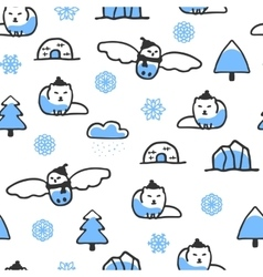 Seamless pattern with cute doodle arctic fox and vector