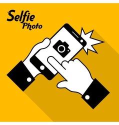 Selfie phone photo in yellow vector