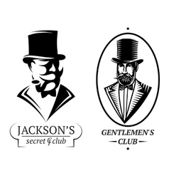 set logo templates for gentlemens club vector image