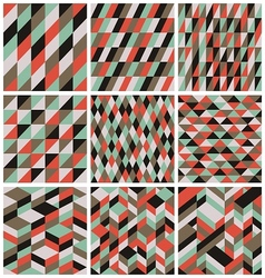 Set of 9 retro seamless patterns vector