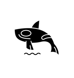 shark killer whale black icon sign on vector image
