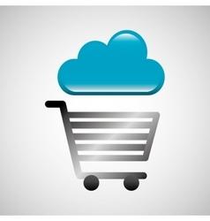 Shiny shopping cart cloud online commerce vector