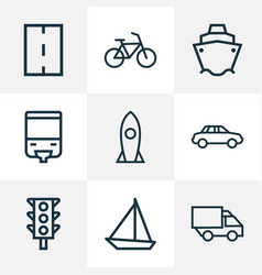 Shipment icons line style set with sailboat lorry vector