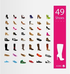 Shoes icons set set of 30 Quality icons vector image