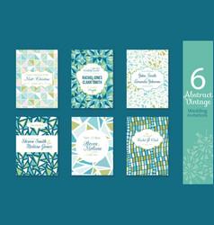 Six abstract vintage wedding invitations save vector
