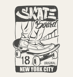skate board typography t-shirt graphics vector image