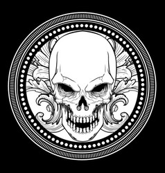 skull with ornament hand drawing vector image