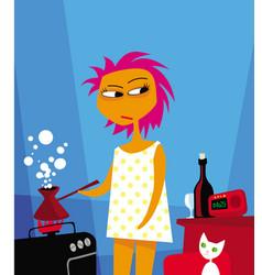 sleepy girl with pink hair makes coffee vector image