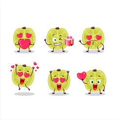 Slice amla character with love cute emoticon vector