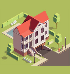 suburban residential building composition vector image