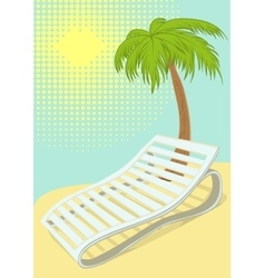 Sunbed under palm tree on tropical beach vector image