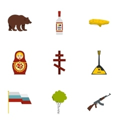 Symbols representing Russia icons set flat style vector