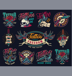 tattoo studio colorful vintage badges vector image