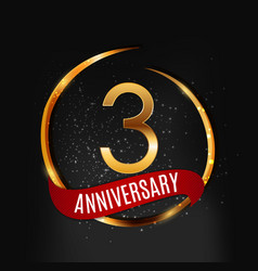 template gold logo 3 years anniversary with red vector image