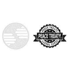 Textured peace treaty ribbon seal and mesh 2d vector