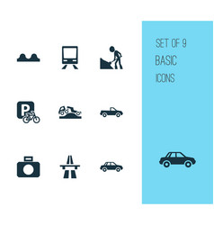 Transportation icons set with start of motorway vector