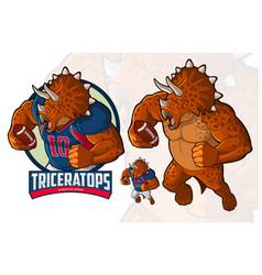 Triceratops character design for american football vector