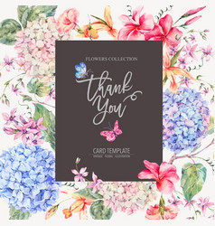 vintage floral greeting card with vector image