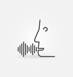 voice command linear icon face with sound wave vector image