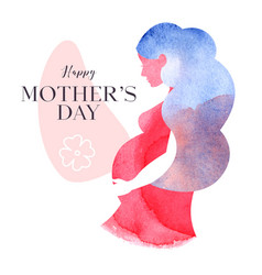 watercolor silhouette pregnant mother newborn vector image