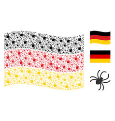 waving german flag pattern of spider icons vector image