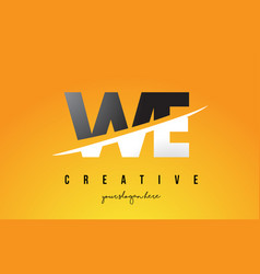 we w e letter modern logo design with yellow vector image