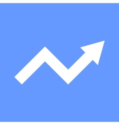 White arrow graph on blue background vector